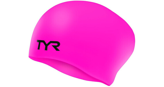 TYR Wrinkle-Free Silicone Long Hair Swimming Cap Juniors fluo pink